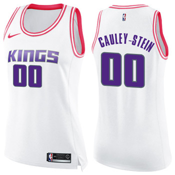 Women's Sacramento Kings #00 Willie Cauley-Stein White Pink NBA Swingman Fashion Jersey