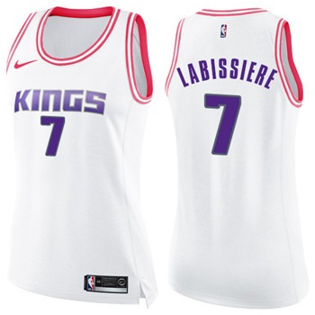 Women's Sacramento Kings #7 Skal Labissiere White Pink NBA Swingman Fashion Jersey