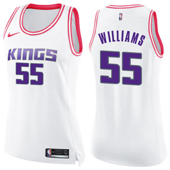 Women's Sacramento Kings #55 Jason Williams White Pink NBA Swingman Fashion Jersey