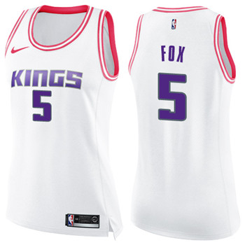 Women's Sacramento Kings #5 De'Aaron Fox White Pink NBA Swingman Fashion Jersey