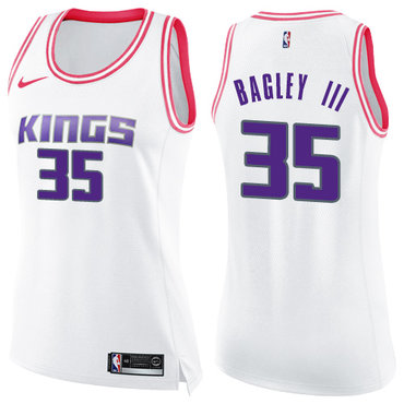 Women's Sacramento Kings #35 Marvin Bagley III White Pink NBA Swingman Fashion Jersey