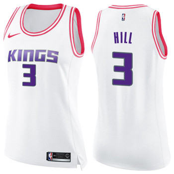 Women's Sacramento Kings #3 George Hill White Pink NBA Swingman Fashion Jersey