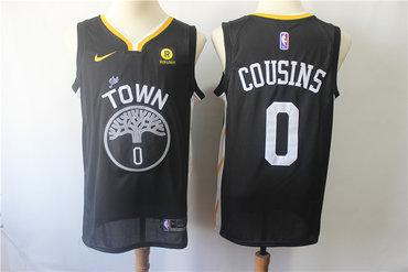 Men's Nike Golden StateWarriors #0 DeMarcus Cousins Black Nike Swingman Jersey