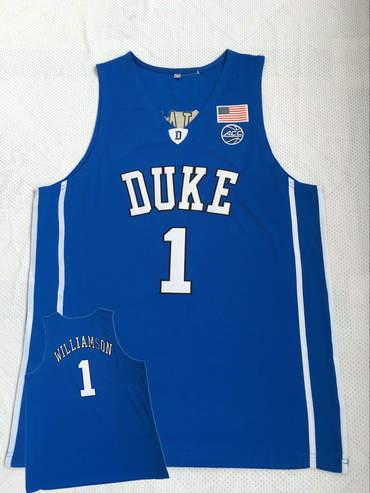 Duke Blue Devils 1 Zion Williamson Blue College Basketball Jersey