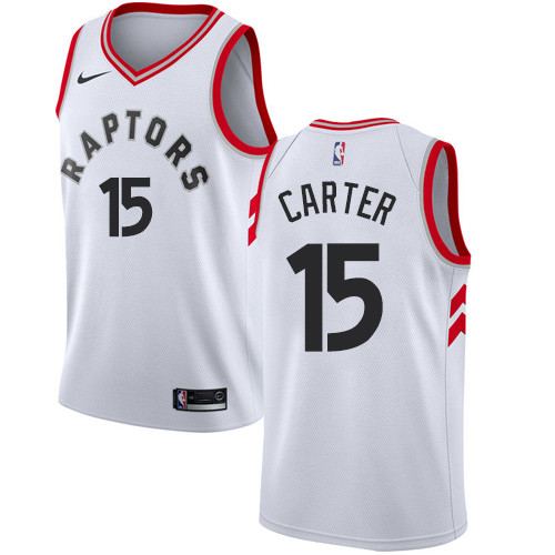 Youth Toronto Raptors #15 Vince Carter White Basketball Swingman Association Edition Jersey