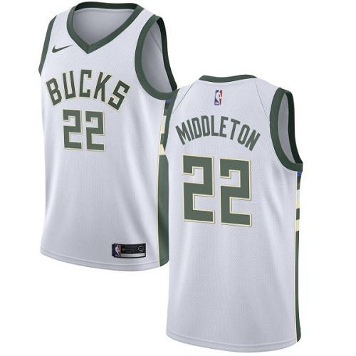 Youth Milwaukee Bucks #22 Khris Middleton White Basketball Swingman Association Edition Jersey