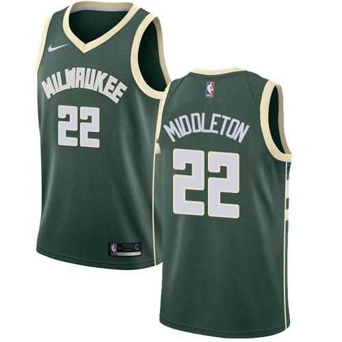 Youth Milwaukee Bucks #22 Khris Middleton Green Basketball Swingman Icon Edition Jersey