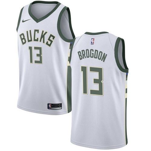 Youth Milwaukee Bucks #13 Malcolm Brogdon White Basketball Swingman Association Edition Jersey
