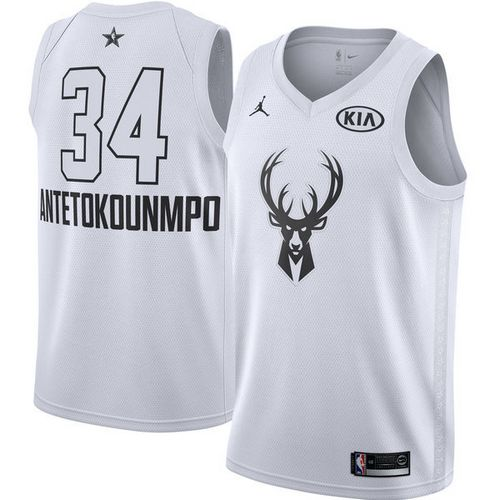 Youth Milwaukee Bucks #34 Giannis Antetokounmpo White NBA Jordan Swingman 2018 All-Star Game Jersey