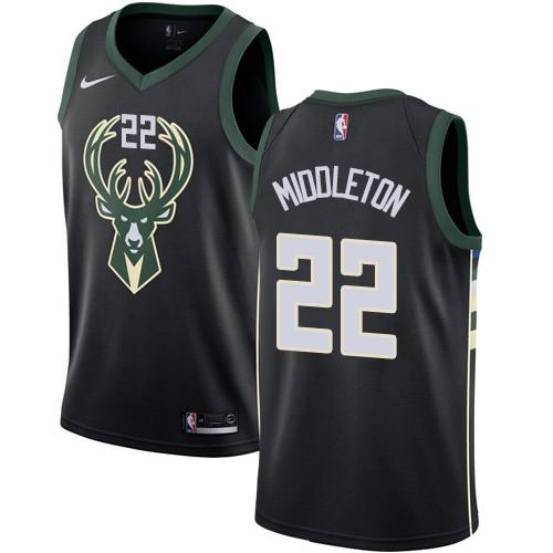 Youth Milwaukee Bucks #22 Khris Middleton Black Basketball Swingman Statement Edition Jersey