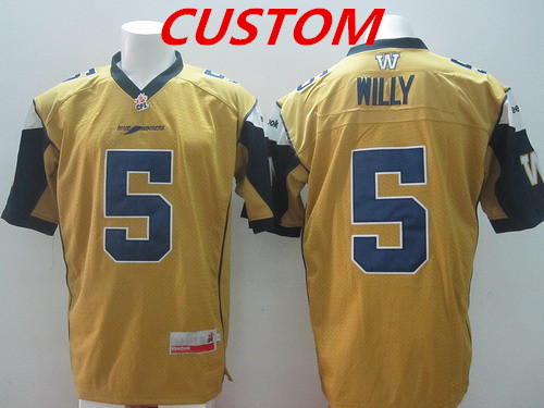 Custom CFL Winnipeg Blue Bombers Yellow Jersey