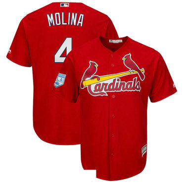 Men's St.Louis Cardinals 4 Yadier Molina Red 2019 Spring Training Cool Base Jersey