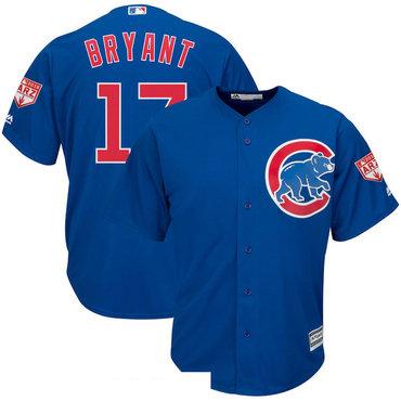 Men's Chicago Cubs 17 Kris Bryant Royal 2019 Spring Training Cool Base Jersey