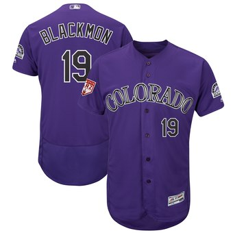 Men's Colorado Rockies 19 Charlie Blackmon Majestic Purple 2019 Spring Training Flex Base Player Jersey