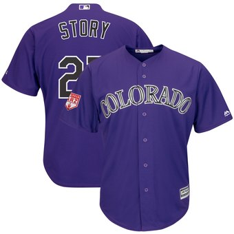 Men's Colorado Rockies 27 Trevor Story Majestic Purple 2019 Spring Training Cool Base Player Jersey