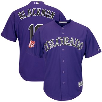 Men's Colorado Rockies 19 Charlie Blackmon Majestic Purple 2019 Spring Training Cool Base Player Jersey