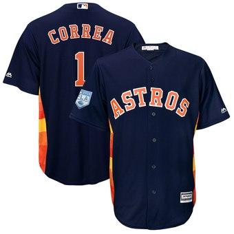 Men's Houston Astros 1 Carlos Correa Majestic Navy 2019 Spring Training Cool Base Player Jersey