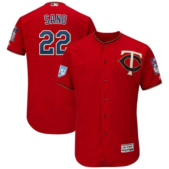 Men's Minnesota Twins 22 Miguel Sano Majestic Scarlet 2019 Spring Training Flex Base Player Jersey