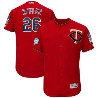 Men's Minnesota Twins 26 Max Kepler Majestic Scarlet 2019 Spring Training Flex Base Player Jersey