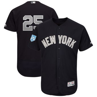 Men's New York Yankees 25 Gleyber Torres Majestic Navy Alternate 2019 Spring Training Flex Base Player Jersey