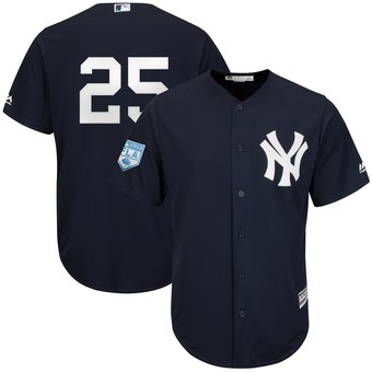 Men's New York Yankees 25 Gleyber Torres Majestic Navy 2019 Spring Training Cool Base Player Jersey