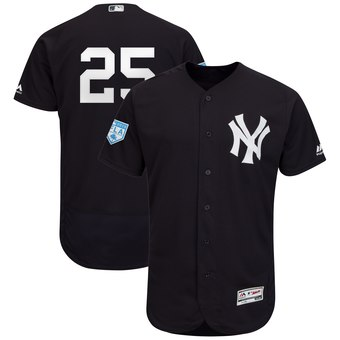 Men's New York Yankees 25 Gleyber Torres Majestic Navy 2019 Spring Training Flex Base Player Jersey