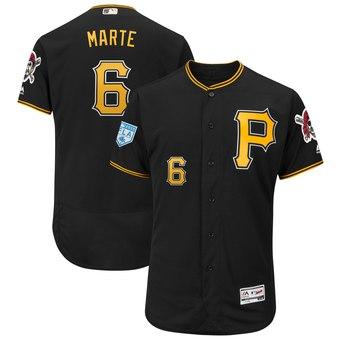 Men's Pittsburgh Pirates 6 Starling Marte Majestic Black 2019 Spring Training Flex Base Player Jersey