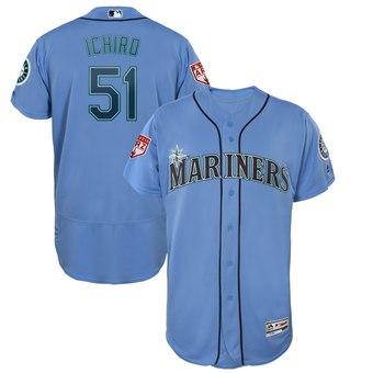 Men's Seattle Mariners 51 Ichiro Suzuki Majestic Light Blue 2019 Spring Training Flex Base Player Jersey