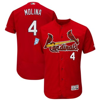 Men's St. Louis Cardinals 4 Yadier Molina Majestic Scarlet 2019 Spring Training Flex Base Player Jersey