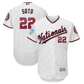 Men's Washington Nationals 22 Juan Soto Majestic White 2019 Spring Training Flex Base Player Jersey