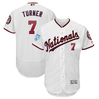 Men's Washington Nationals 7 Trea Turner Majestic White 2019 Spring Training Flex Base Player Jersey