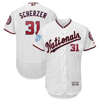 Men's Washington Nationals 31 Max Scherzer Majestic White 2019 Spring Training Flex Base Player Jersey