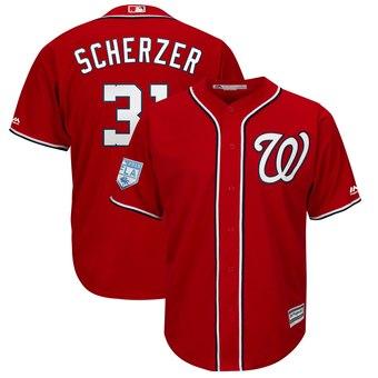 Men's Washington Nationals 31 Max Scherzer Majestic Scarlet 2019 Spring Training Cool Base Player Jersey
