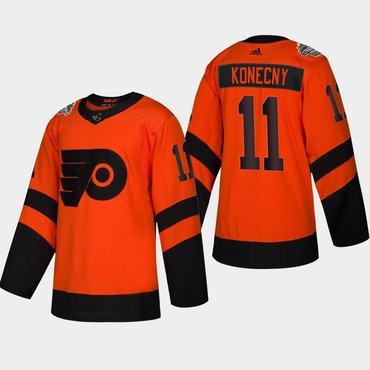 Men's #11 Travis Konecny Flyers Coors Light 2019 Stadium Series Orange Authentic Jersey