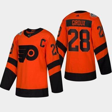 Men's #28 Claude Giroux Flyers Coors Light 2019 Stadium Series Orange Authentic Jersey