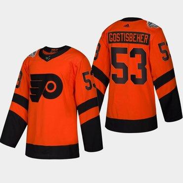 Men's #53 Shayne Gostisbehere Flyers Coors Light 2019 Stadium Series Orange Authentic Jersey