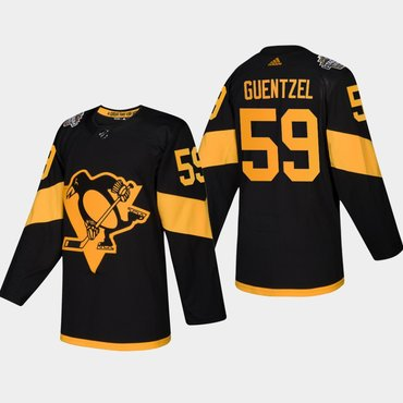 Men's #59 Jake Guentzel Penguins Coors Light 2019 Stadium Series Black Authentic Jersey