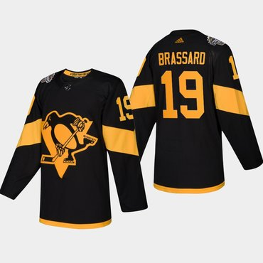 Men's #19 Derick Brassard Penguins Coors Light 2019 Stadium Series Black Authentic Jersey