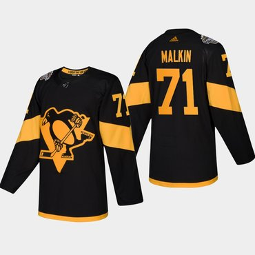 Men's #71 Evgeni Malkin Penguins Coors Light 2019 Stadium Series Black Authentic Jersey