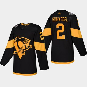 Men's #2 Chad Ruhwedel Penguins Coors Light 2019 Stadium Series Black Authentic Jersey