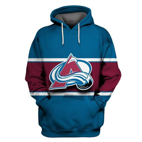 Men's Colorado Avalanche Blue All Stitched Hooded Sweatshirt