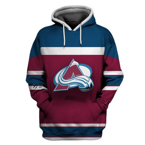 Men's Colorado Avalanche Wine All Stitched Hooded Sweatshirt