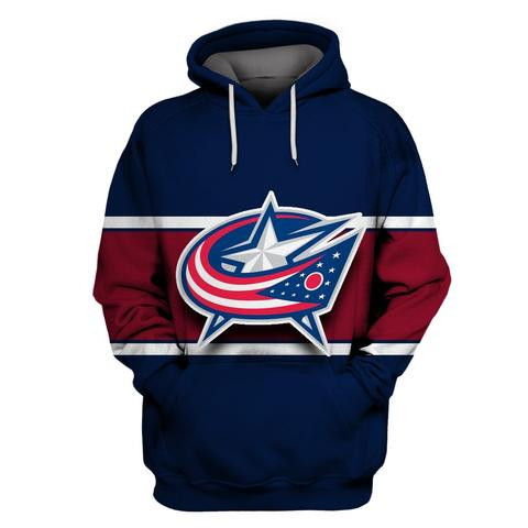 Men's Columbus Blue Jackets Navy All Stitched Hooded Sweatshirt