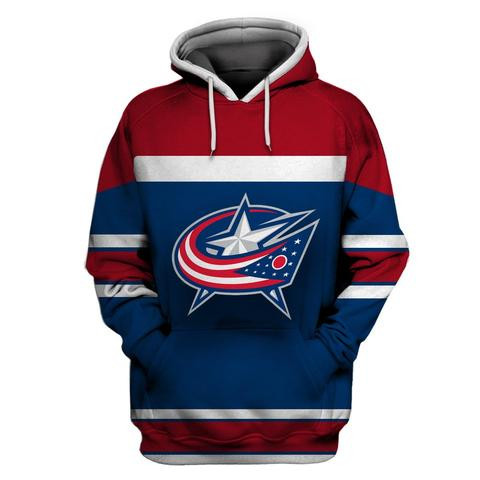 Men's Columbus Blue Jackets Blue Wine All Stitched Hooded Sweatshirt