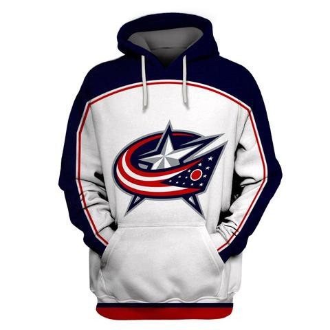 Men's Columbus Blue Jackets White All Stitched Hooded Sweatshirt