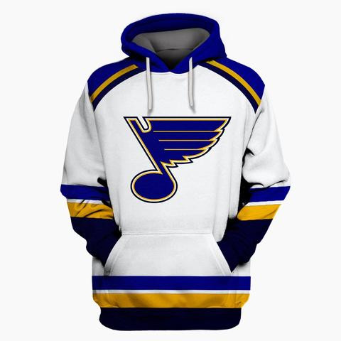 Men's St. Louis Blues White All Stitched Hooded Sweatshirt
