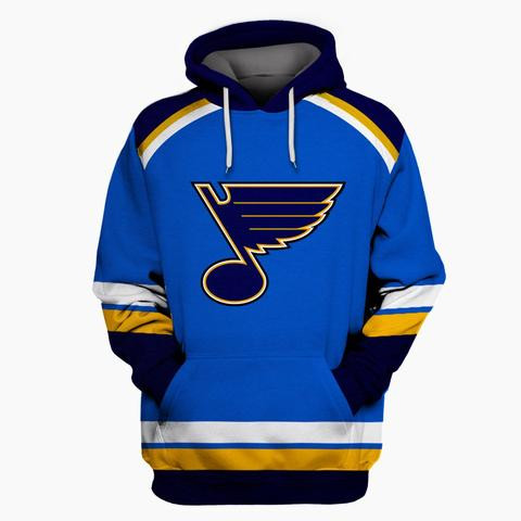 Men's St. Louis Blues Blue All Stitched Hooded Sweatshirt