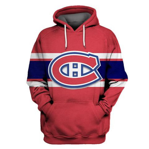 Men's Montreal Canadiens Red All Stitched Hooded Sweatshirt