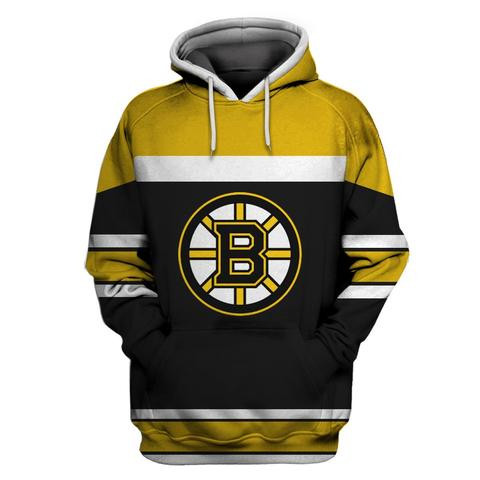 Men's Boston Bruins Black All Stitched Hooded Sweatshirt