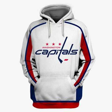 Men's Washington Capitals White All Stitched Hooded Sweatshirt